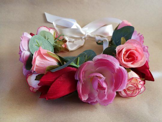 Pink burgundy tulip flower crown