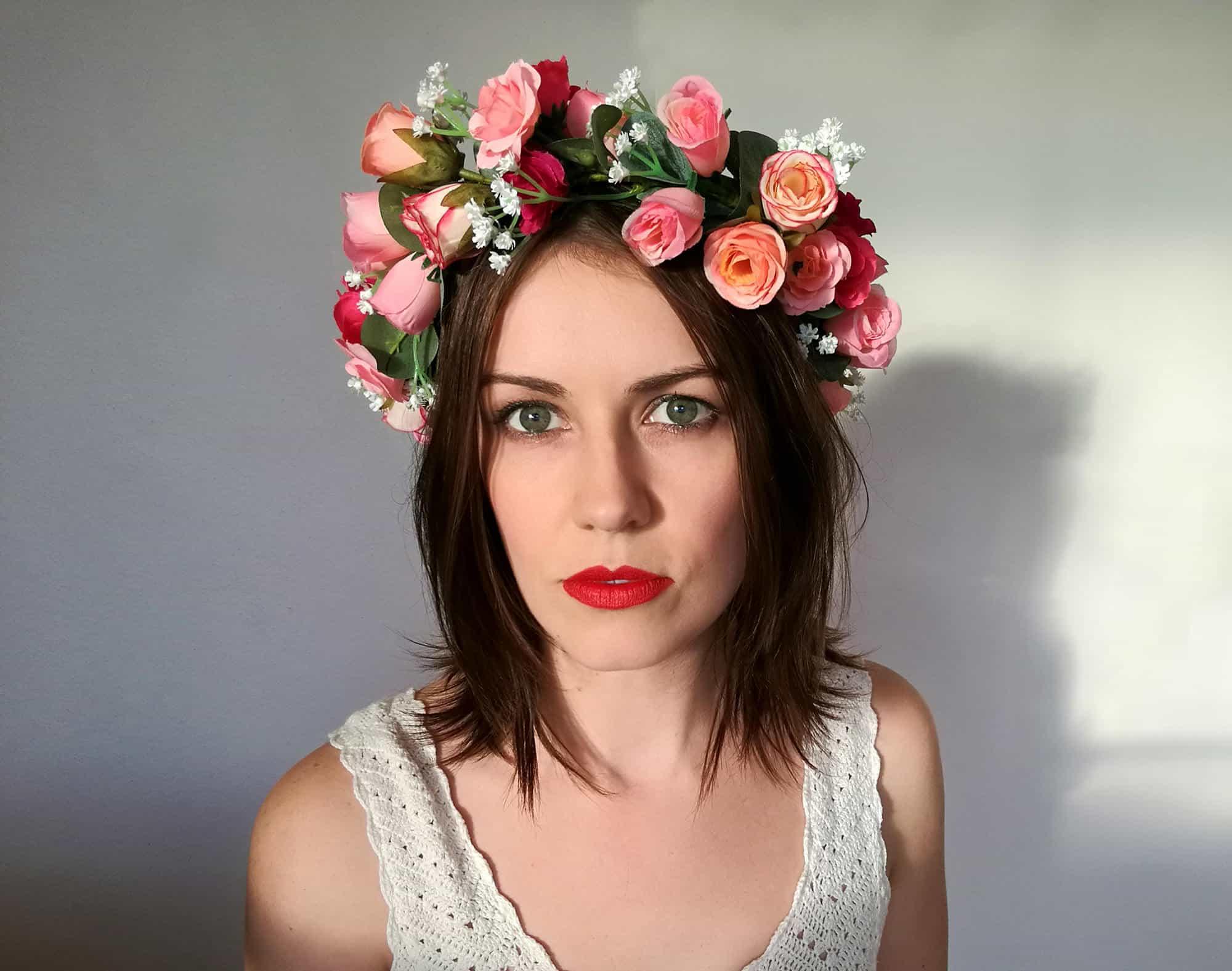 Isadora vintage pink rose adult flower crown bark and bloom vintage rose adult flower crown izmirmasajfo