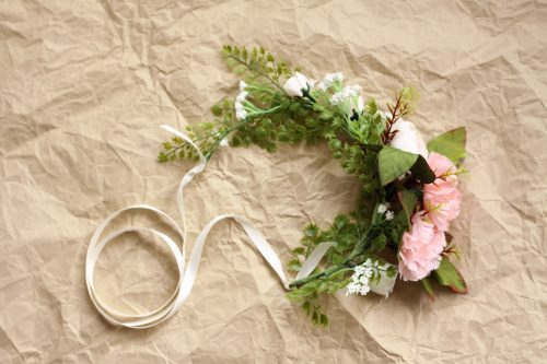 Dusty Pink White vintage flower crown
