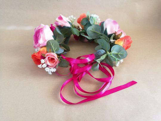 Pink Orange rose dog flower crown