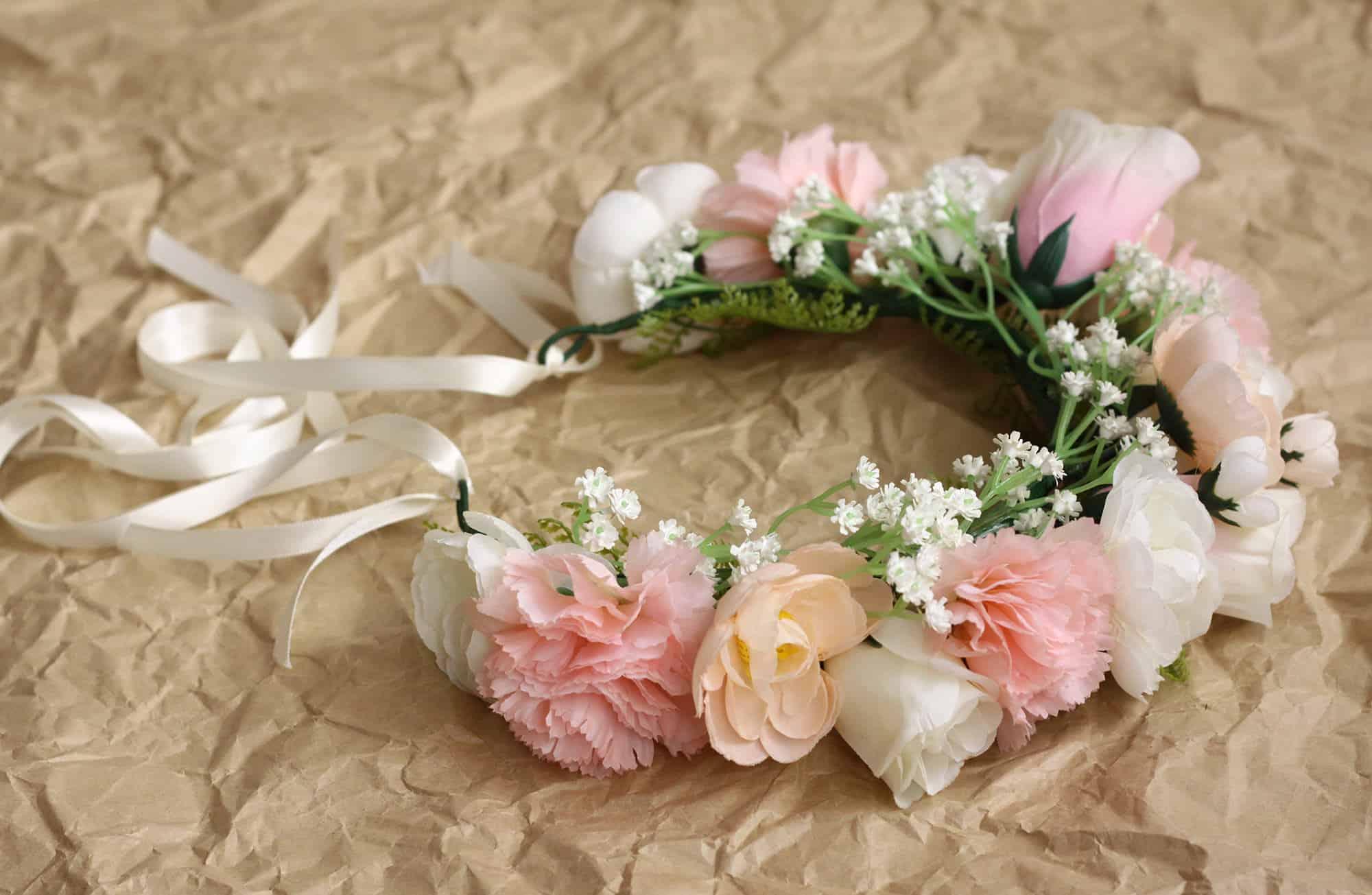 Juno blush ivory vintage adult flower crown bark and bloom pink rose babys breath flower crown izmirmasajfo