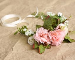 Dusty Pink White vintage flower crown