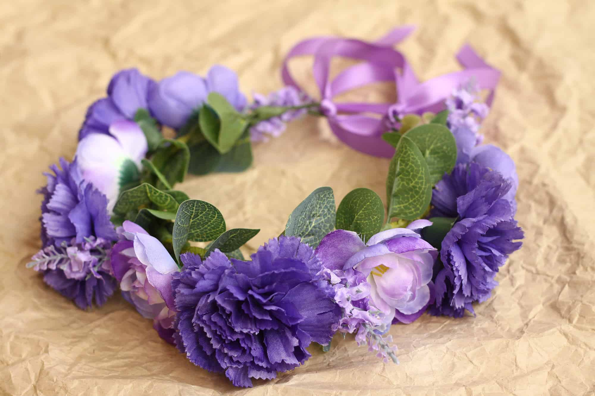 Betty Lavender Purple Carnation Dog Flower Crown Bark And