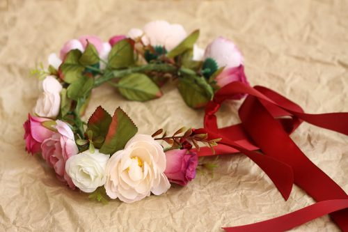 Burgundy wedding flower crown