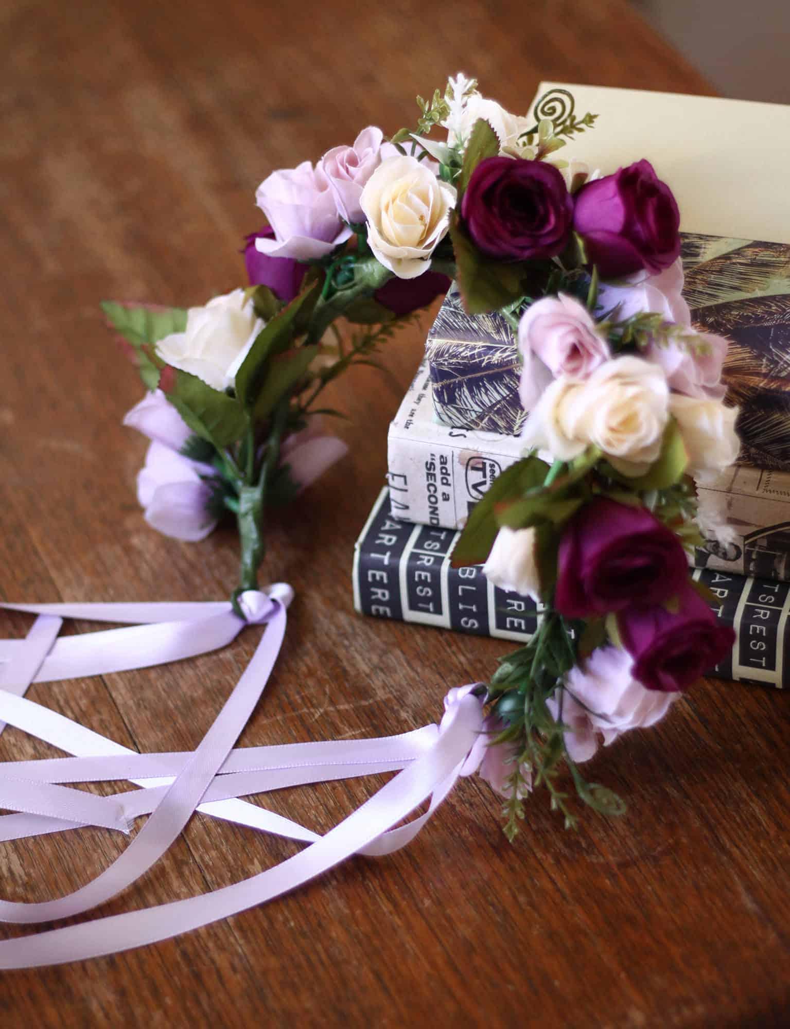 Harriet purple ivory rose adult flower crown bark and bloom purple rose flower crown izmirmasajfo