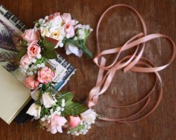 Vintage Peach Flower Crown