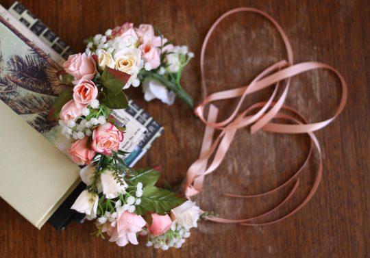 Vintage Peach Flower Crown