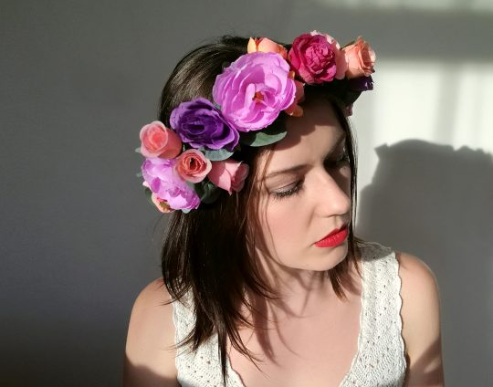 purple boho flower crown 2