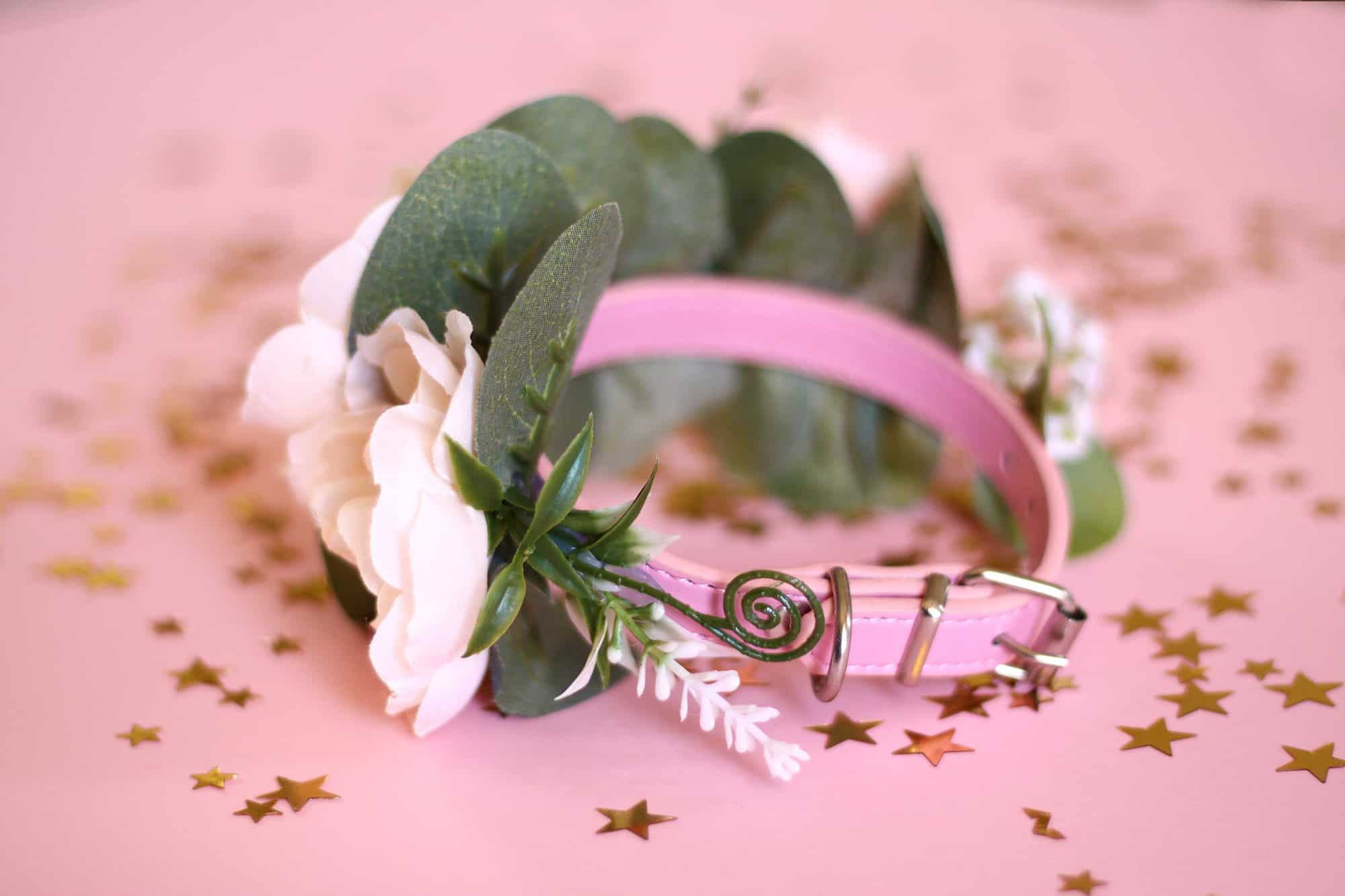 Pink peach cat flower collar 2