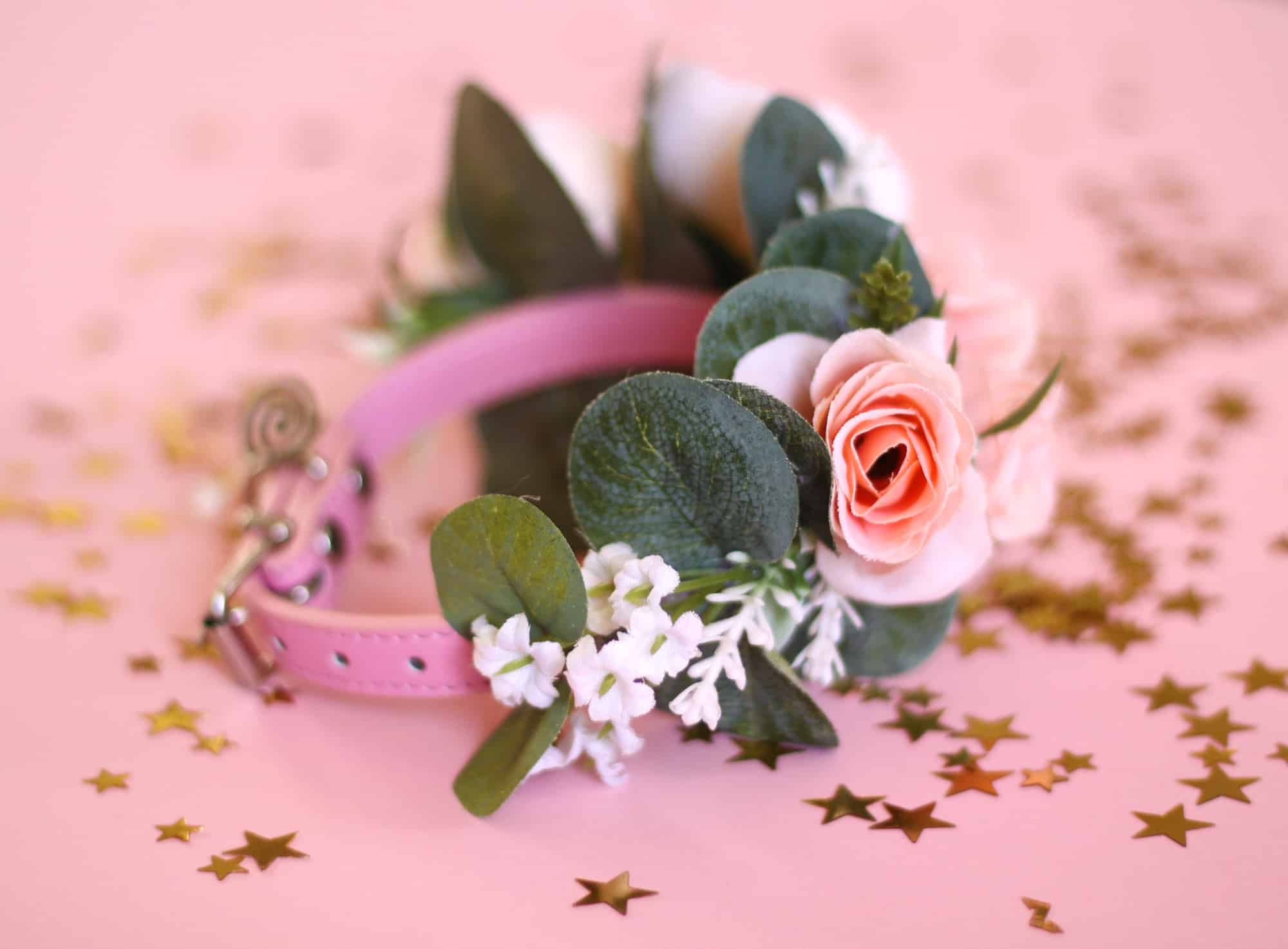 Just Peachy Pink Puppy Cat Flower Collar Bark And Bloom Designs