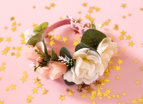 Pink peach cat flower collar 2