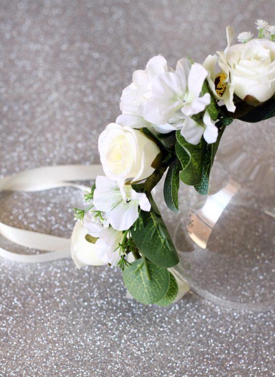 White flower eucalyptus flower crown 6