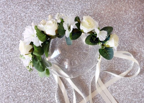 White flower eucalyptus flower crown 6