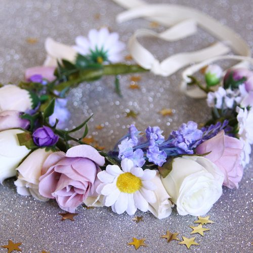 Purple flower pet flower collar 5