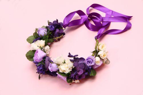 Purple & Ivory Dog Flower Collar Wreath