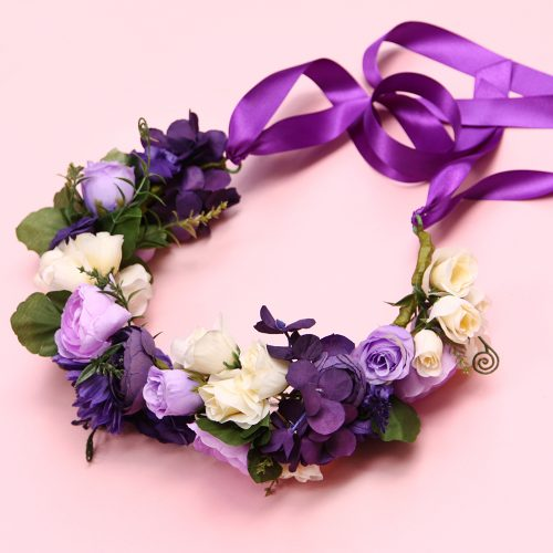 Purple & Ivory Dog Flower Collar Wreath