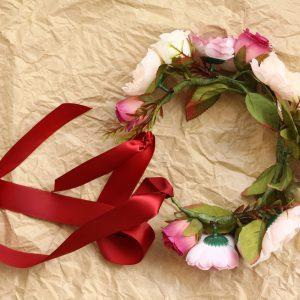 Burgundy wedding flower crown